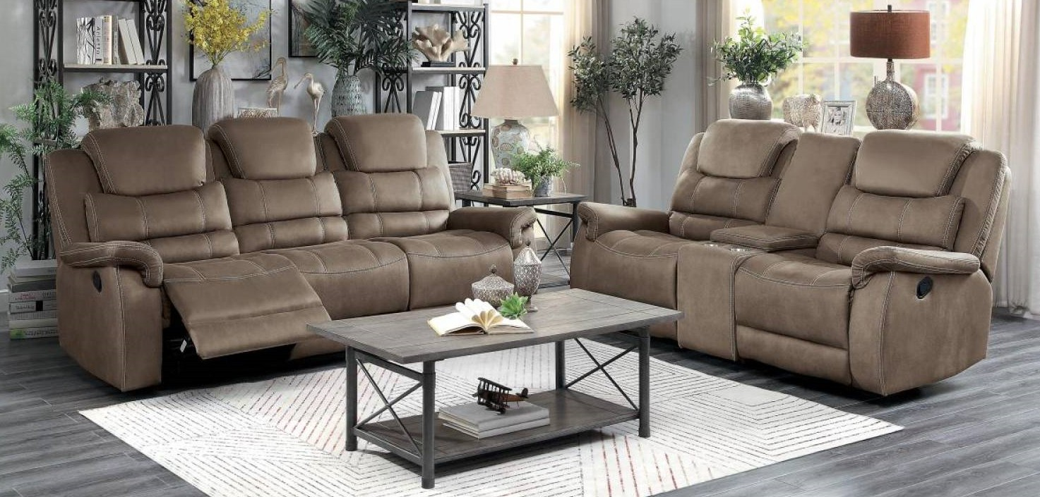 Homelegance 9848BR-2PWH 2 pc Shola brown polished microfiber power motion sofa and love seat set