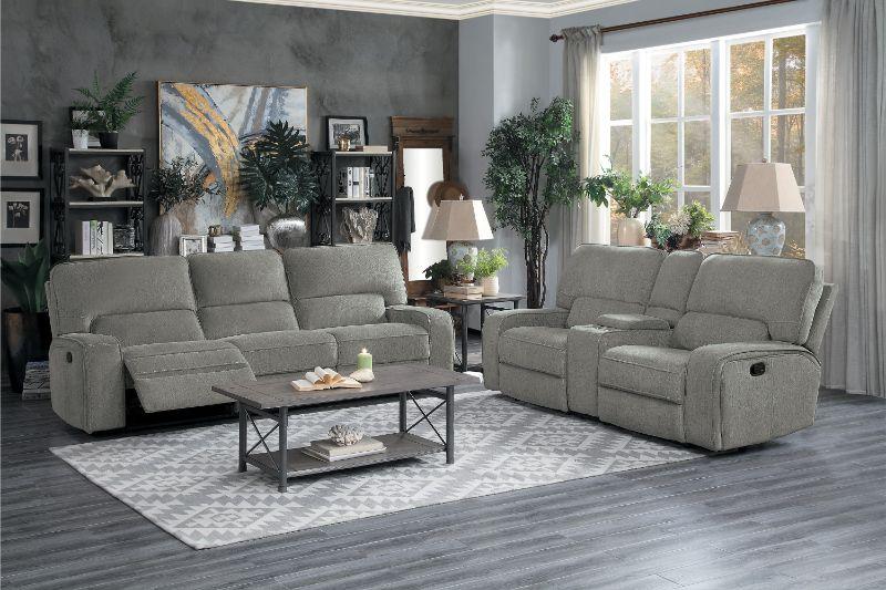 HE-9849MC-2PC 2 pc Borneo mocha fabric motion sofa and love seat set recliner ends