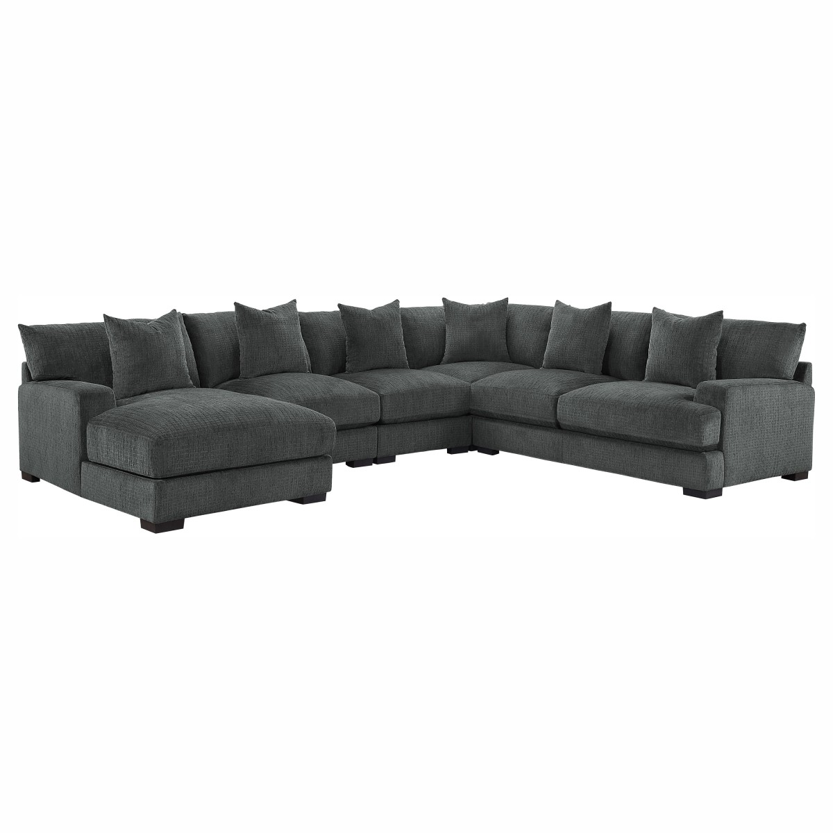 HE-9857DG-5LC2R 5 pc Worchester dark gray chenille fabric modular sectional sofa left chaise