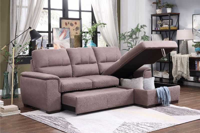 9858TP-2pc 2 pc Andes taupe fabric storage sectional with pull out bed lounger area