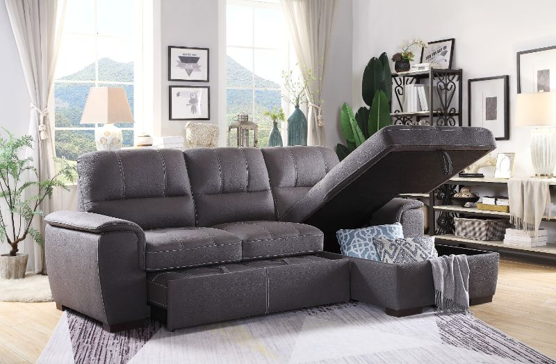 HE-9858GY-2pc 2 pc Andes gray fabric storage sectional with pull out bed lounger area