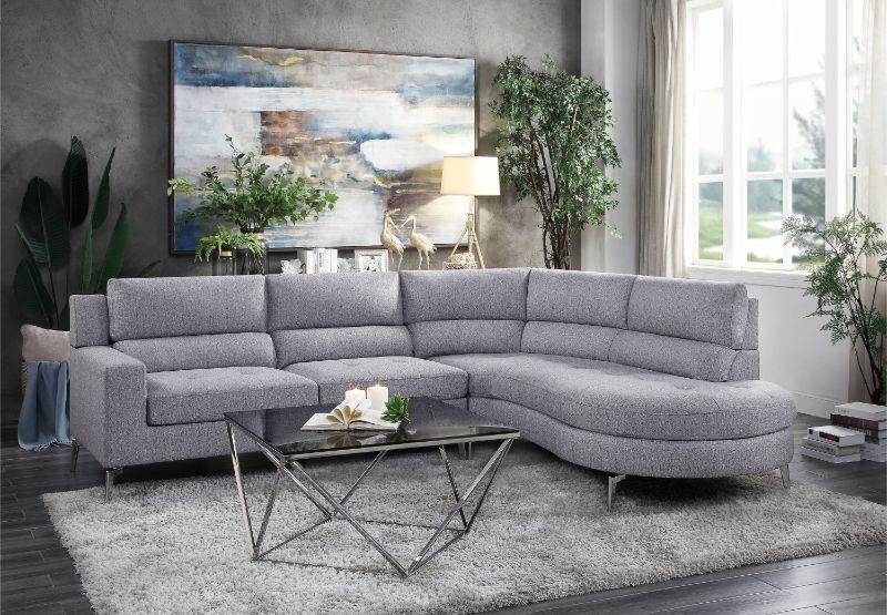 Bonita Gray Fabric Sectional Sofa Set