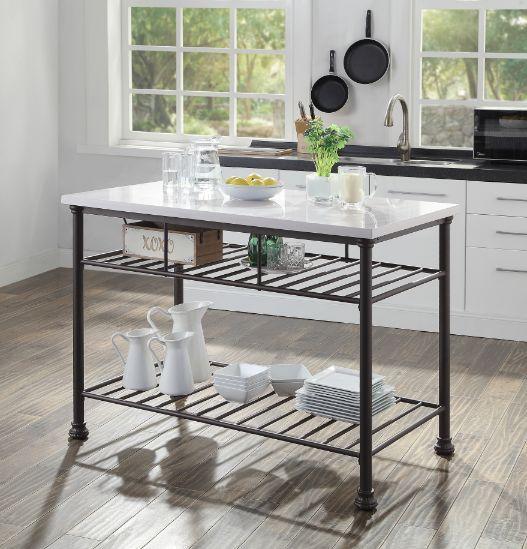Acme 98941 House of Hampton Kaif grey finish metal frame cultured white stone kitchen island cart