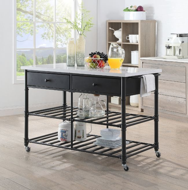 Acme 98942 House of Hampton Kaif grey finish metal frame cultured white stone kitchen island cart with drawers