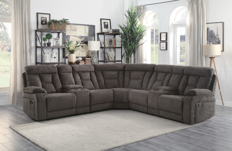 Home Elegance HE-9914-3PC 3 pc Rosnay gray fabric sectional sofa with recliner ends and consoles