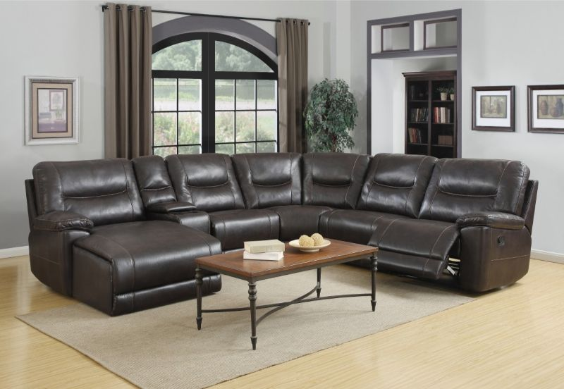 GU-9917BR-6PC-LC 6 pc Latitude run restin brown leather aire reclining  sectional sofa set LAF chaise