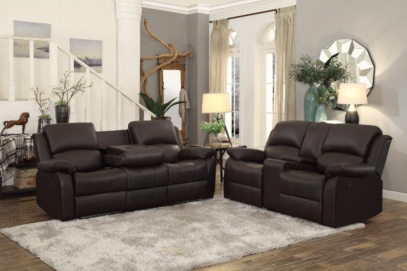 Home Elegance HE-9928DBR-SL 2 pc Clarkdale dark brown bi-cast vinyl sofa and love seat set recliner ends