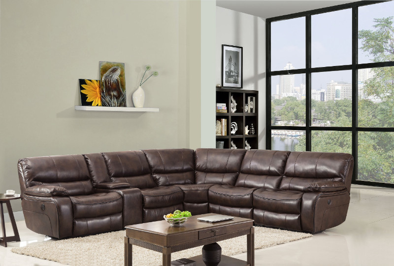 "Global United GU-9931BR-6PC 6 pc Restin II brown leather aire upholstered sectional sofa with standard recliners. This set features LAF recliner, armless chair, corner wedge, armless recliner , drink console, and RAF recliner,. Sectional measures 120"" x 1"