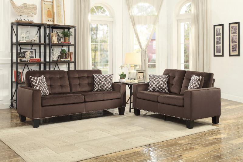 Home Elegance HE-9957CH-SL 2 pc Lantana chocolate fabric sofa and love seat set nail head trim