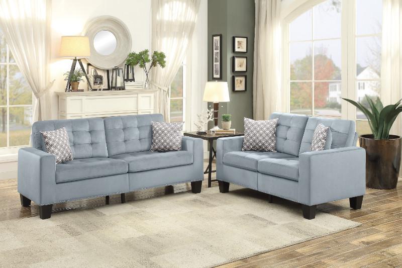 Home Elegance HE-9957GY-SL 2 pc Lantana gray fabric sofa and love seat set nail head trim