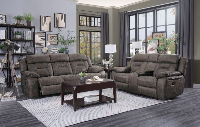 HE-9989DB-2PC 2 pc Madrona hill dark brown polished microfiber motion sofa and love seat set