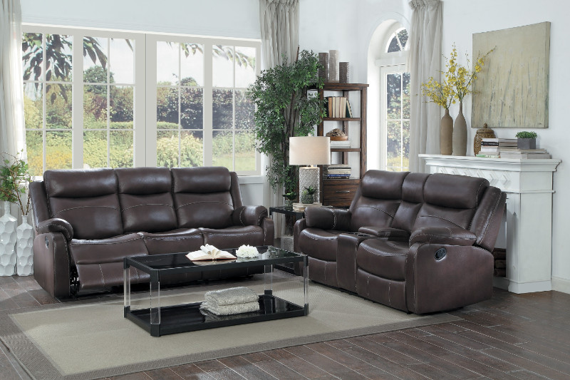 HE-9990DB-SL 2 pc Yerba dark brown polished microfiber sofa and love ...