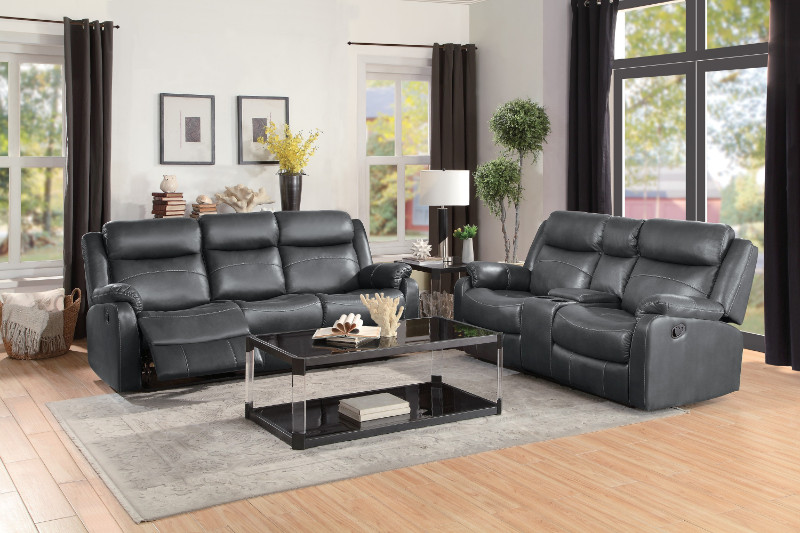 Home Elegance HE-9990GY-SL 2 pc Yerba gray polished microfiber sofa and love seat lay flat recliner ends