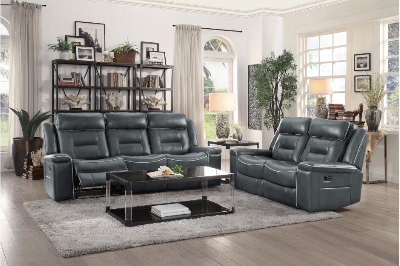Homelegance 9999DG-2PC 2 pc Darwan dark gray leather gel match sofa and love seat set lay flat recliner ends