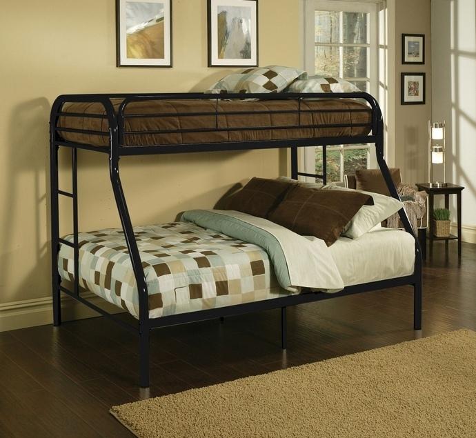 ACM02053BK Tritan collection twin over full black finish tubular metal design bunk bed
