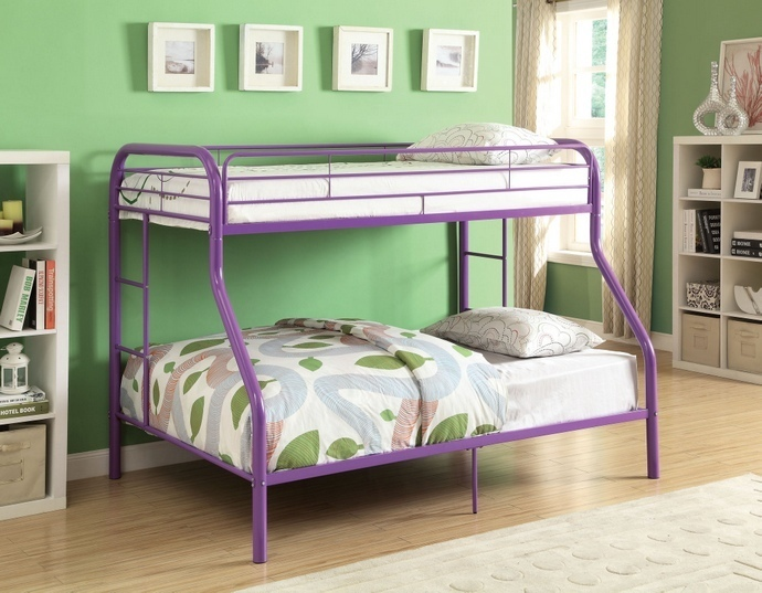 ACM02053A-PU Tritan collection twin over full purple finish tubular metal design bunk bed