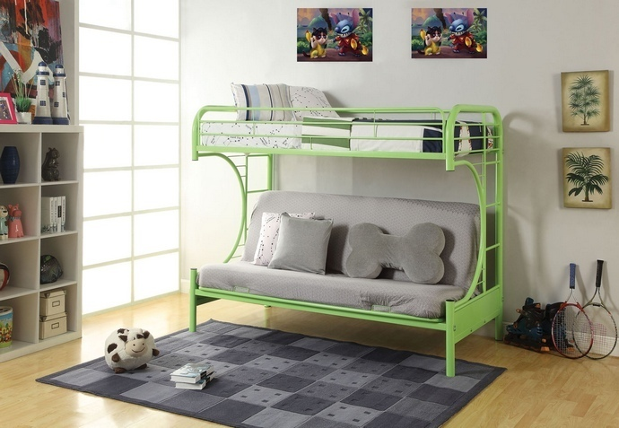 "ACM02091A-GR Eclipse collection ""C"" shaped style twin over full futon green finish tubular metal design bunk bed"