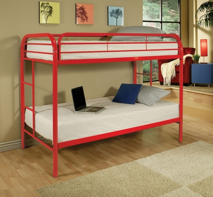 ACM02188RD Thomas collection twin over twin red finish tubular metal design bunk bed