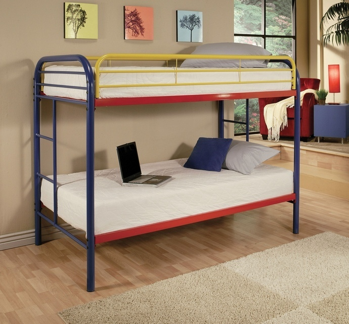 ACM02188RNB Thomas collection twin over twin rainbow finish tubular metal design bunk bed