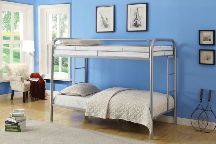 ACM02188A-SL Thomas collection twin over twin silver finish tubular metal design bunk bed