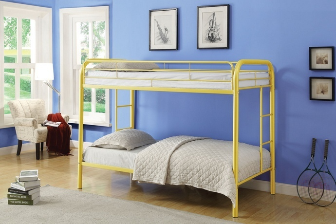 ACM02188A-YL Thomas collection twin over twin yellow finish tubular metal design bunk bed