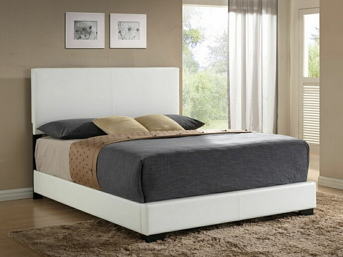 ACM14390Q Ireland collection white leather like vinyl padded headboard footboard and rails queen size bed set