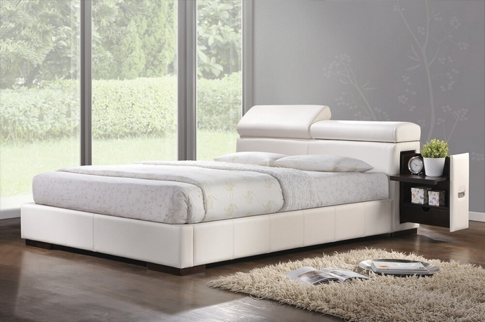 ACM20420Q Manjot collection white leather like vinyl padded headboard footboard and rails queen size platform bed set