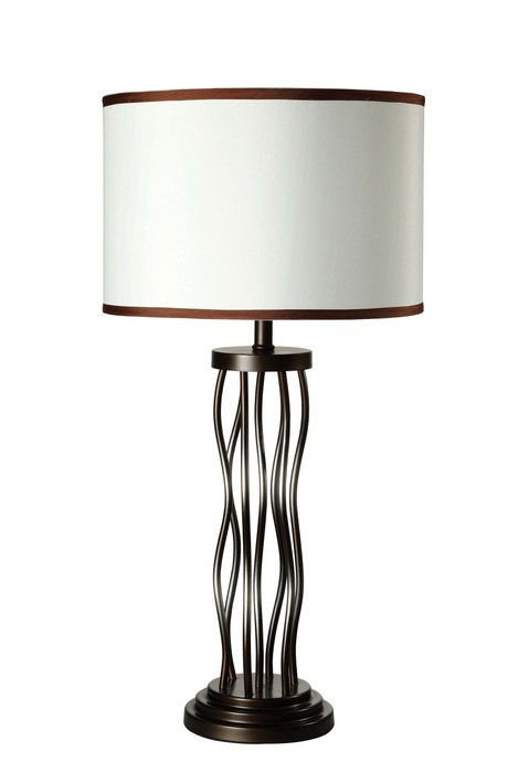 ACM40070 Jared collection antique bronze finish metal table lamp with drum shade with dark trim