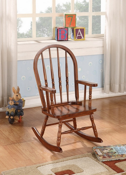 ACM59215 Kloris collection arch top spindle back tobacco finish wood children's size rocking chair