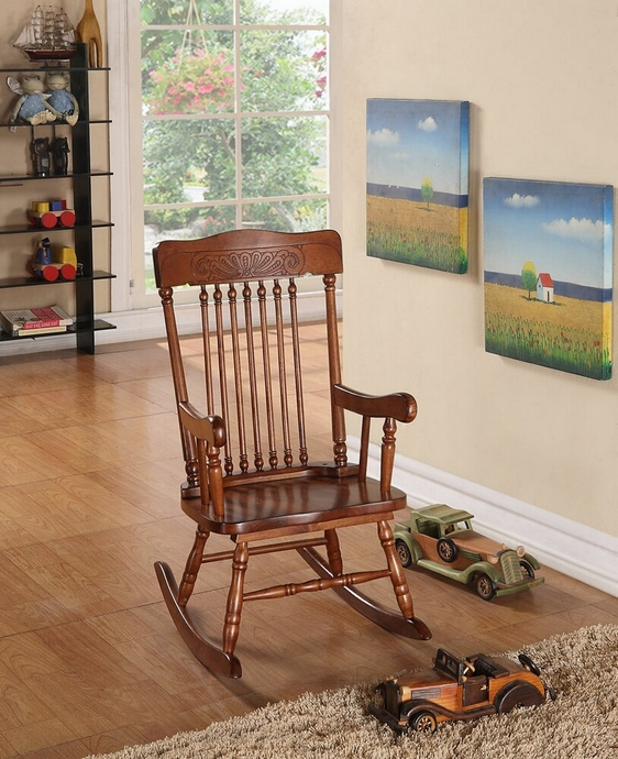 ACM59218 Kloris collection pressed back spindled back tobacco finish wood children's size rocking chair