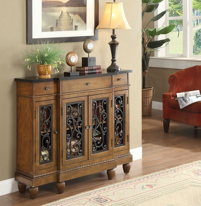 ACM90108 Vidi collection oak finish wood with carved front design bombay chest with drawer and cabinet