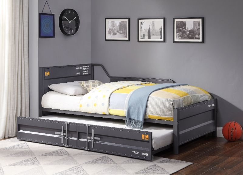 Acme 39885 2 pc Transport cargo gunmetal metal kids twin daybed and trundle set