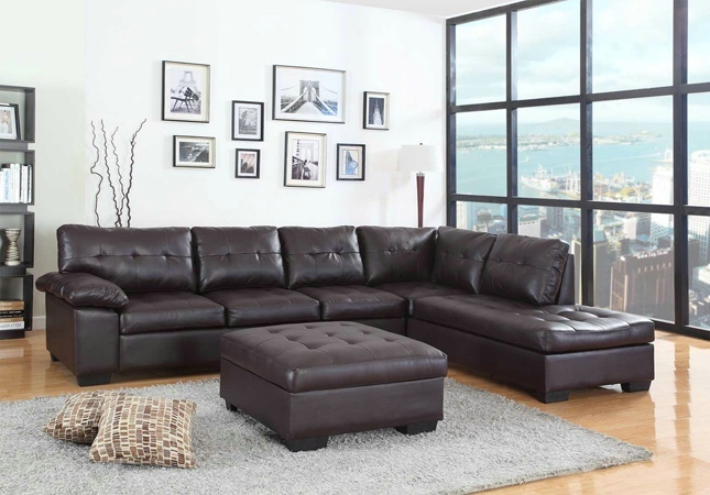 AD-2082 2 pc emily ii collection espresso faux leather sectional sofa set with tufted seat and backs