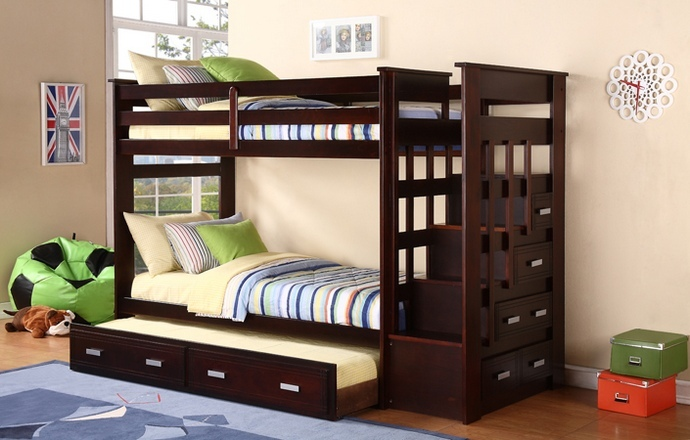 AD-868 Jerome ii collection espresso finish wood twin over twin bunk bed set with storage staircase on the right side facing