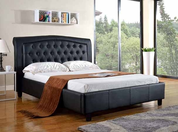 AD-8718Q-BK Silhouette collection black faux leather upholstered and tufted queen platform bed set