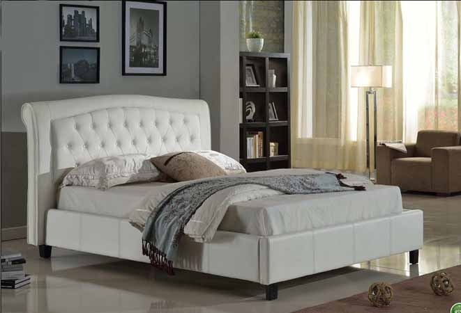 AD-8718Q-WH Silhouette collection white faux leather upholstered and tufted queen platform bed set