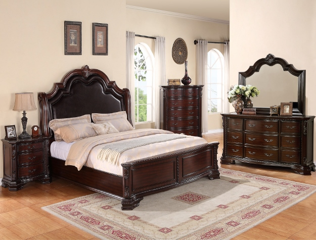 B1100 4 pc sheffield dark wood finish padded headboard with accents queen bedroom set