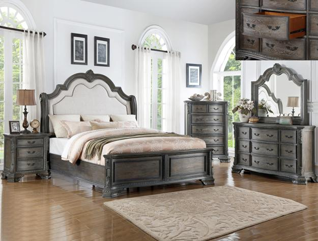 B1120 4 pc Sheffield antique grey finish wood padded headboard bedroom set