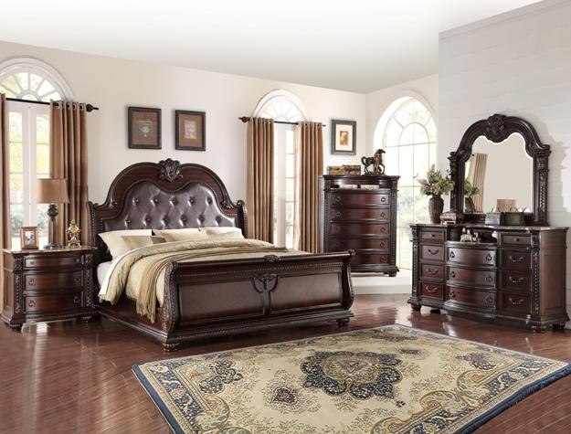 MFB1600 5 pc York collection medium wood finish with intricate carved headboard bedroom set with marble tops