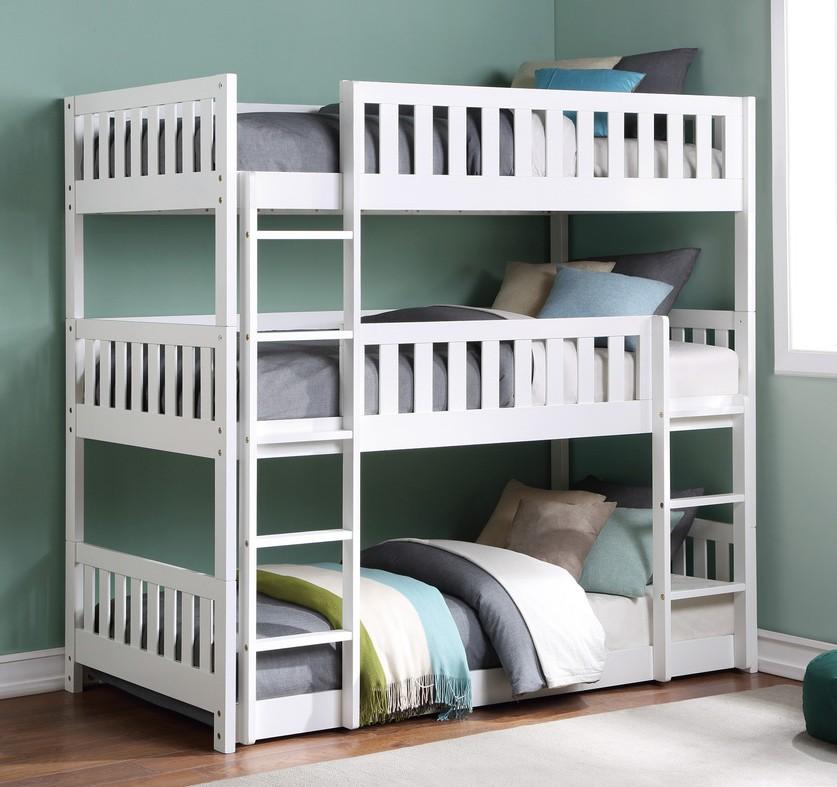 B2053TTTW-1 Harriett bee lomas white finish wood triple twin over twin over twin bunk bed set