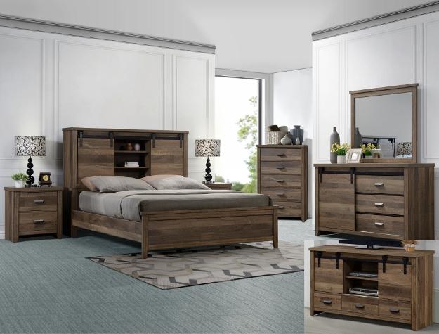 B3030 4 pc A & j designs studio calhoun multitone wood finish wood queen bedroom set