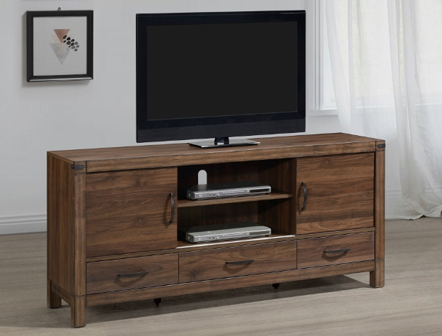 B3100-7 Darby home co belmont natural rustic finish wood tv stand console