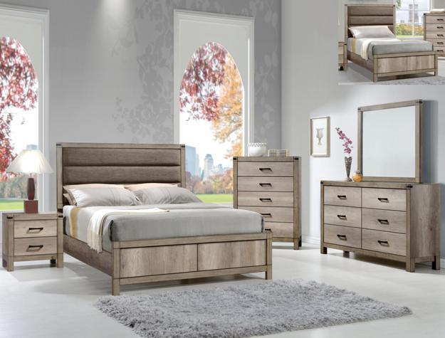 B3200 4 pc A & J Homes studios matteo rustic brown finish wood queen bedroom set