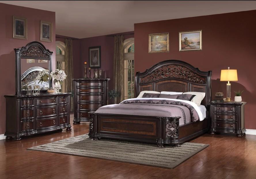 Mc Ferran B366 5 pc Fleur de lis living winkelman allison dark wood finish wrought iron metal curved accents queen bedroom set