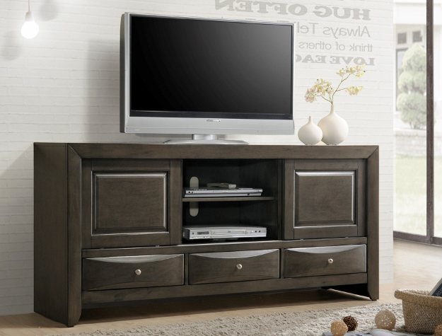 B4270-7 Emily dark gray finish wood tv stand console with drawers