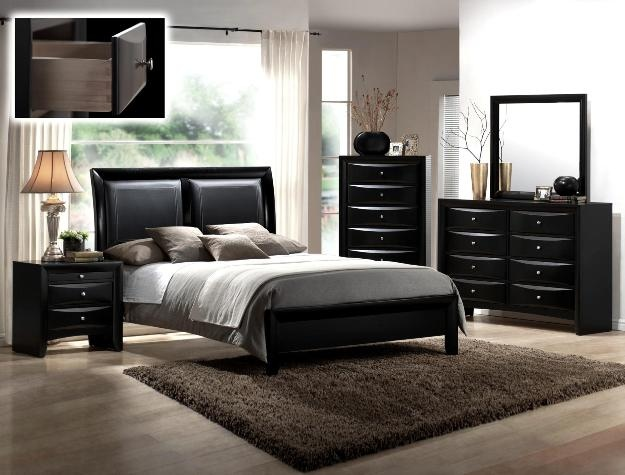 CM-B4280-Q-5PC 5 pc emily ii collection black wood finish padded design headboard queen bedroom set