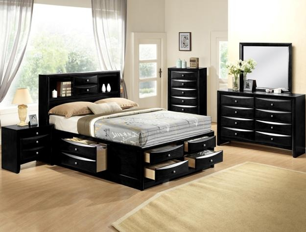 CM-B4285-Q 5 pc emily collection black wood finish design headboard queen bedroom set with storage drawers