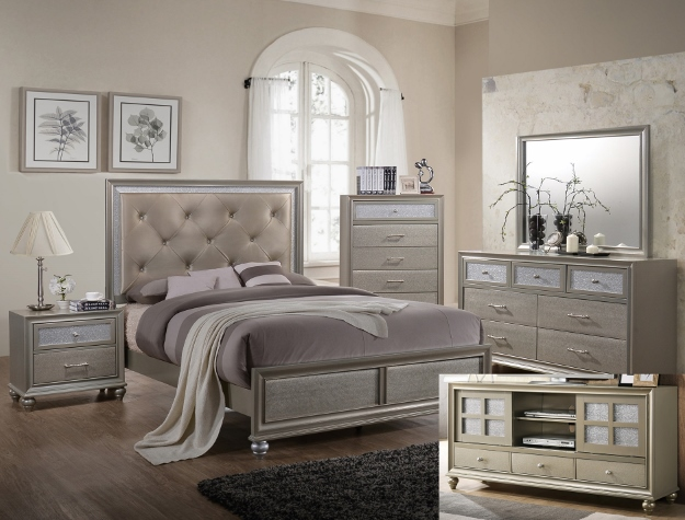 Crown Mark B4390 5 pc lila collection champagne wood finish wood ...