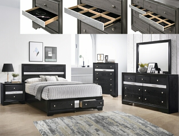 B4670 4 pc Regata black and silver finish wood queen storage bedroom set