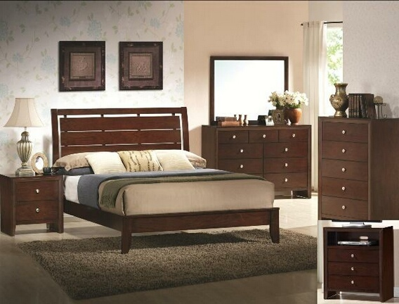 B4700 5 Pc. Evan Contemporary Style Brown Cherry Wood Finish Platform Queen Bedroom Set
